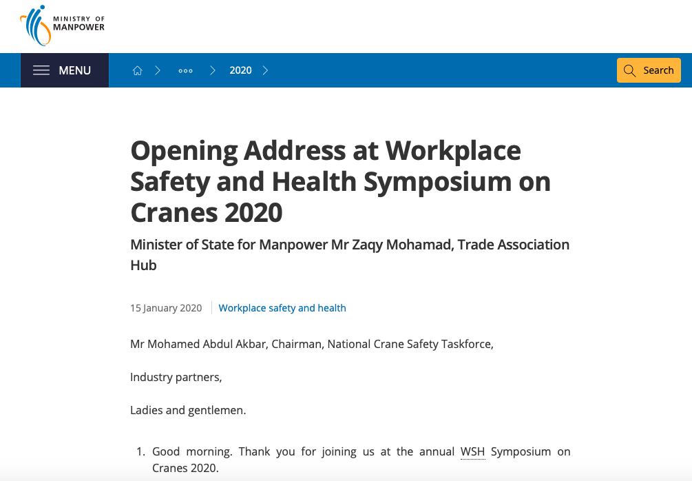 Opening Address at Workplace Safety and Health Symposium on Cranes 2020