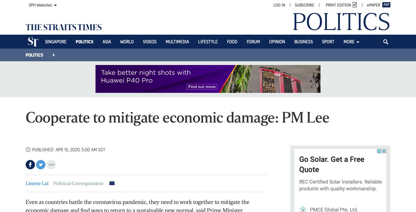 Cooperate to mitigate economic damage: PM Lee